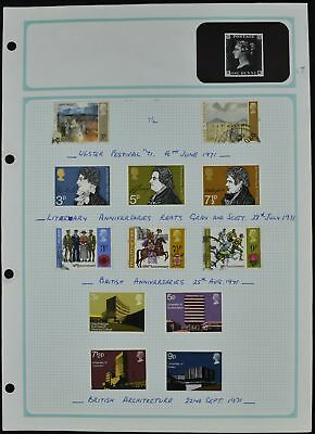 GB 1971 QEII Commemoratives Mint/Used Album Page Of Stamps #V7321