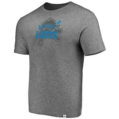 Majestic Detroit Lions Heathered Gray Static Fade Marled T-Shirt