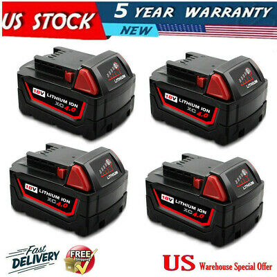 4X For 18V Milwaukee M18 Lithium Ion XC 5.0 Extended Capacity Battery 48-11-1852