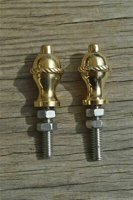 Pair of superb quality antique brass furniture clock finials rope edge finial Z6