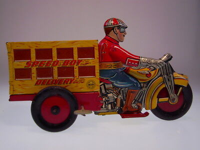 "Gsmoto *speed Boy Delivery"" Tin Motorcycle Marx 1930 ?, Wind Up Ok, Very Good !"