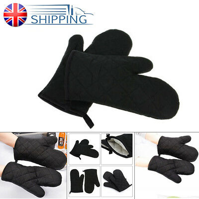 1Pair Cotton Thick Kitchen Cook Baking Insulated Padded Oven Gloves Mitt Black