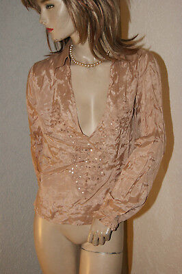 Seidige satinglänzende Bluse * Tunika * Shirt gold Pailletten Viscose S