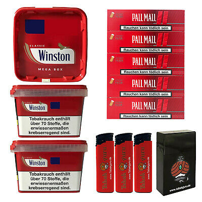 3 x Winston Tabak/Volumentabak Mega Boxes 185g, Authentic Hülsen, Feuerz., Box