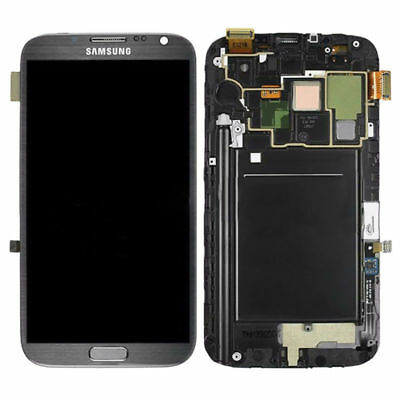 New For Samsung Note-2-N7105 Black LCD Display Touch screen Assembly With Frame