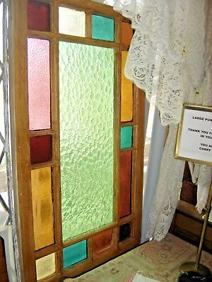 Antique Victorian Pine Window with 15 panes colored glass.  8177