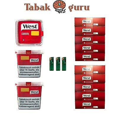 3 x West Tabak / Volumentabak Mega Box 290 g, 2.000  West Rot Hülsen, Feuerzeuge
