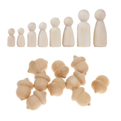 22pc DIY Wooden People Peg Dolls Wood Acorns Wedding Cake Toppers Craft Toys