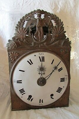 Antique French Comtoise Clock with Movement Bell Enamel Face Grandfather clock