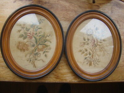 "Antique Chinese Silk Embroidery Oval Floral Picture Pair - 12.5"" x 15"""