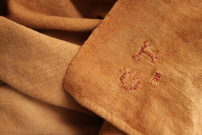 Antique French sheet dyed linen burnt orange pieced patched textile 87X130 inch