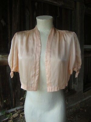 Vintage 1930's Silk Bed Jacket with Shirring * Small to Medium