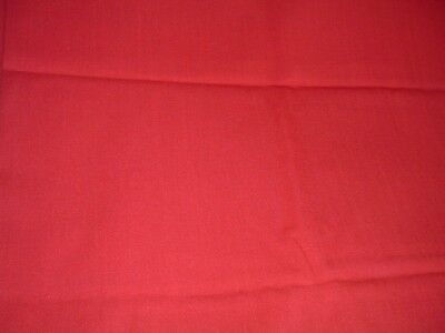 Vtg 60s Rose Red Linen Cotton Fabric Upholstry Quilting Sewing Craft 2Yx42#ff359