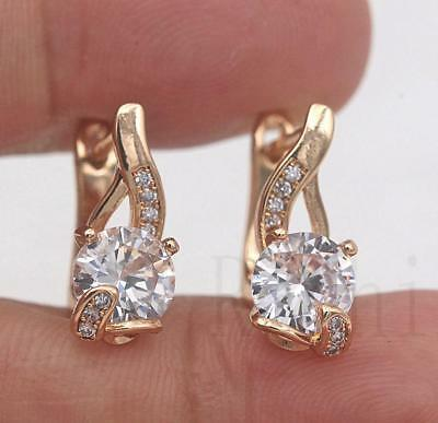18K Gold Filled- Swril Vine Geometry Round Topaz Zircon Women Hoop Gems Earrings