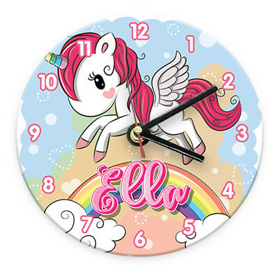 Personalised Any Name Unicorn Wall Clock Printed Gift Present Kids Bedroom 5