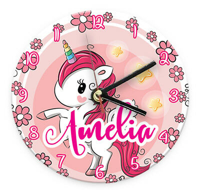 Personalised Any Name Unicorn Wall Clock Printed Gift Present Kids Bedroom 8