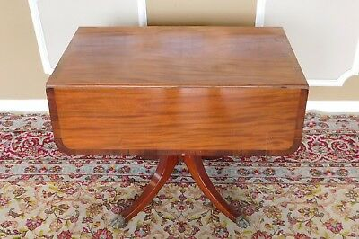 Antique 19th Century Banded Mahogany Drop Leaf Living ~ Dining Room Table c1890