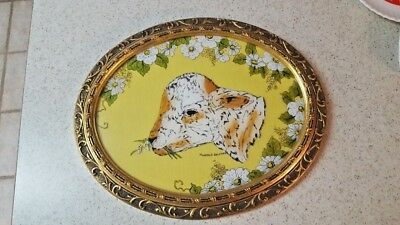Unique Hand Painted Calf Picture On Linen-Vintage  Framing17 X 14 One Of A Kind