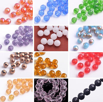 20pcs 8mm Round 96 Facets Ball Crystal Glass Findings DIY Loose Spacer Beads