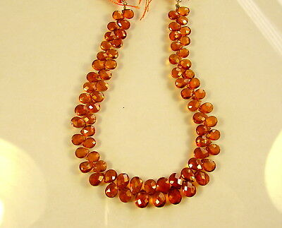 "SPESSARTITE GARNET faceted pear beads AAA 6.5-8mm 8.5""strand"