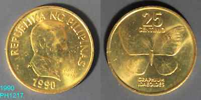 PHILIPPINES 25 Sentimos 1990 uncirculated coin with a few spots Butterfly