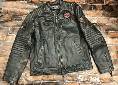 87c631d0b AFFLICTION BLACK LEATHER Motorcycle Jacket Indian Skull American Customs  MENS XL