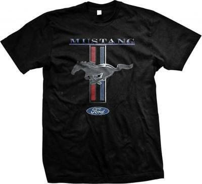 Ford Mustang Racing Stripes Pony Chrome American Muscle Shelby Mens T-shirt