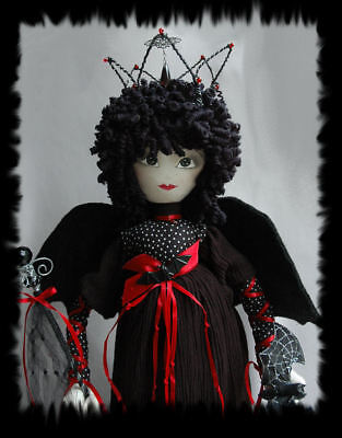 SALE - OOAK Vampire Queen Art Doll for Halloween Decor, 21 inches, on wood base