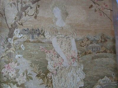 Antique 19c or Older Silk Tapestry Embroidery Lady maiden French Dress 45cmx77cm