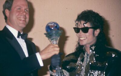 Michael Jackson Michael Eisner Candid Press Photo Vintage Transparency 35mm