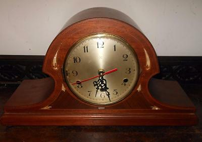 pretty mahogany inlaid mantel clock [now battery movement]
