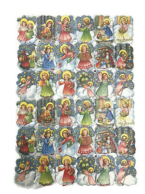 Vintage EAS Germany Die Cut Scraps Ganzbilder Oblaten 3131 Angels Single Sheet