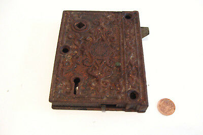 Eastlake Rim Lock Surface Mount Ornate Circa Late 1870s Antique M W & Co