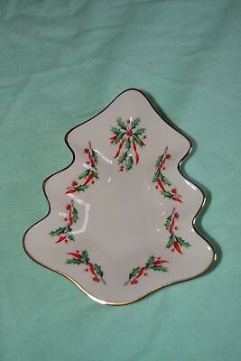 Lenox Holiday Christmas Tree Shaped Candy Dish Plate Gold Rimmed Holly Leaves