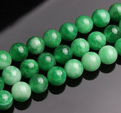 "Fine 10mm Real Natural Korea Green Jade Gemstones Round Loose Beads 15"" AAA+"