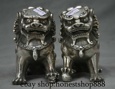 "5.2"" Old Chinese Silver Feng Shui Foo Dog Lion Beast Lucky Sculpture Pair"