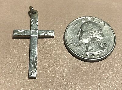 """Vintage Sterling Silver 925 Etched Cross Religious Pendant 1.25"""" (Marked) 3.1G"""