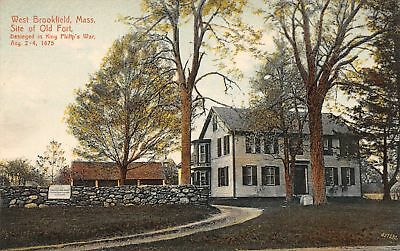 C09-7451, Site Of Old Fort, West Brookfield, Mass. 1910S Postcard,