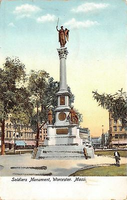 C09-7464, Soldiers Monument, Worcester, Mass. 1900S Postcard,