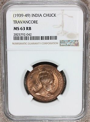 1939-40 India Travancore One Chuckram Coin - NGC MS 63 RB - KM# 60