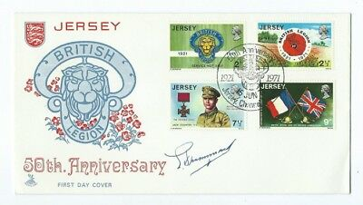 SIGNED FIRST DAY COVER JERSEY CHANNEL ISLANDS 50th ANNIVERSARY BRITISH LEGION VC
