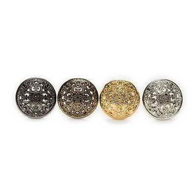 5pcs Metal Buttons Hollow Carved Sewing Scrapbook for Jacket Blazer Sweaters