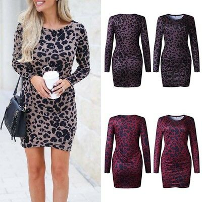 Sexy Frauen Bodycon Leopardenmuster Club Party Cocktail Abend Casual Minikleid