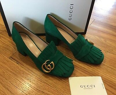 79e2f21dbc30 NIB Gucci Marmont Fringe Emerald Suede Pumps Heels Shoes 55mm Loafer 35 / 5
