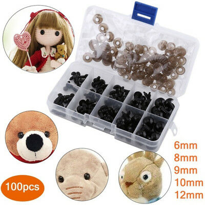 100X Black Plastic Safety Eyes Amigurumi Soft Toy Teddy Bear Craft Animal Box Y