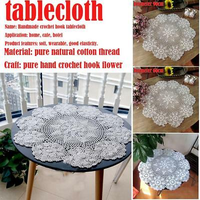 Vintage Round Lace Tablecloth Handmade Crochet Cotton Table Cloth Cover 60/90cm