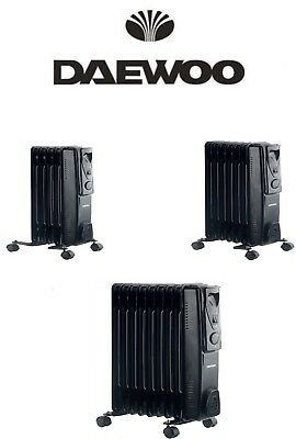Daewoo Oil Filled Radiator 5 7 9 Fin Heater Portable Electric Thermostat Castors