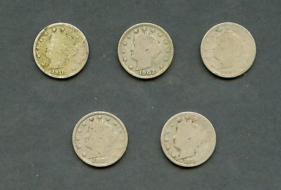 United States Lot Of Five Liberty V Nickels  You Do The Grading