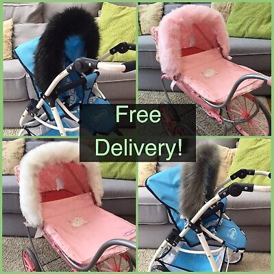 Dolls Pram Faux Fur Hood Trim -Universal- Pink Ivory Black Blue Grey
