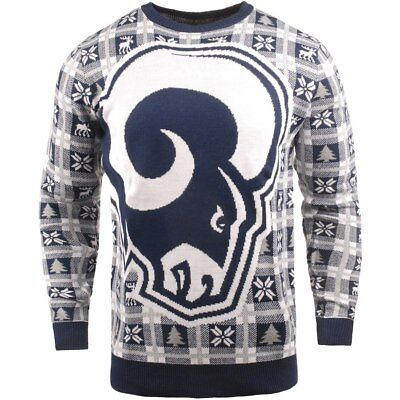 NFL UGLY Sweater Los Angeles L.A. Rams Pullover Christmas Big Logo Football 18